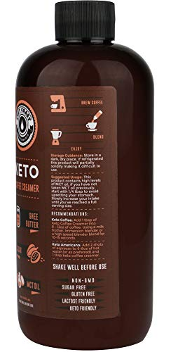 Keto Coffee Creamer with MCT Oil, Ghee Butter, Cocoa Butter - 16oz / 32 Servings (Must Blend) - No Carb Keto Creamer for Coffee Booster [Unsweetened] | Ketogenic, Low Carb (Zero), Paleo Friendly