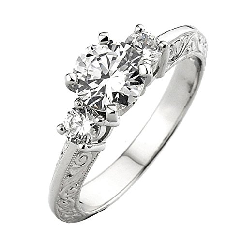 0.33 Carat (Ctw) 14k White Gold Round Diamond Ladies Bridal Semi Mount Engagement Ring 1/3 Ct (No Center Stone) (Size 8)