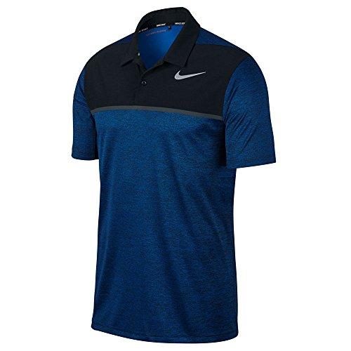 (Nike TW Dry Fit Blocked Golf Polo 2017 Blue Jay/Black/Flat Silver Medium)