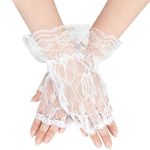 Gorse Lace Gloves Fingerless Gloves UV Protection Prom Party Driving Wedding Net -