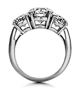 2.27Ct Enhanced Diamond(VS) Truffle-round Simulated CVD Coated Diamond Engagement Ring 14k White Gold for Promise Wedding Anniversary