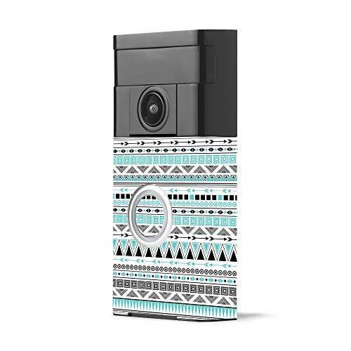 MightySkins Skin for Ring Video Doorbell - Turquoise Tribal | Protective, Durable, and Unique Vinyl Decal wrap Cover | Easy to Apply, Remove, and Change Styles | Made in The USA