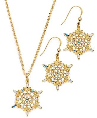 Amazon charter club necklace and earring set gold tone charter club necklace and earring set gold tone rhinestone snowflake pendant necklace and drop aloadofball Images