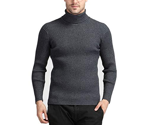 Winter Warm Cashmere Sweater Men Turtleneck Sweaters Knitted Wool Pullover Gray XXL (Gray Wool Turtleneck)