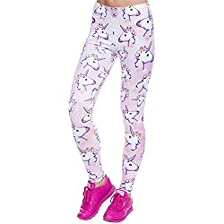Daoxi 3D Full Printed Running Sexy Stretch Print Leggings for Women(with Emoji Unicorn Pattern,38S-M)