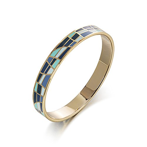 (Avery and May Single Stackable Summer Boho Tricolor Hoop Enamel Bangle Bracelet for Her, Blue, Mint, Gold Plated)