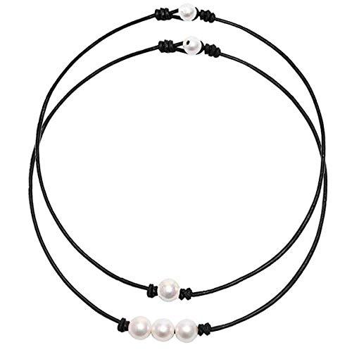 CARSHIER 2PCS Bohemian Pearl Beads Beach Choker Handmade Hawaii Wakiki Boho Clavicle Necklace Set for Women Girls 2N