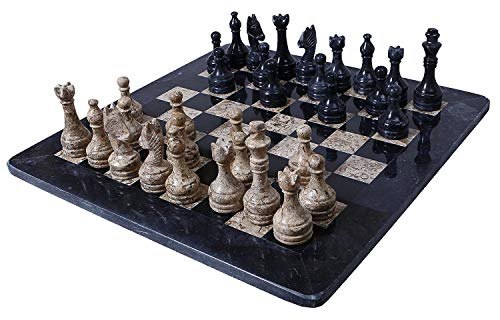 RADICALn 16 Inches Large Handmade Black and Fossil Coral Weighted Marble Full Chess Game Set Staunton and Ambassador Gift Style Marble Tournament Chess Sets -Non Wooden -Non Magnetic -Not Backgammon