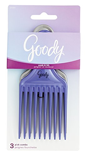 Goody Comb & Lift Hair Pick, 3 Count, Assorted Colors (Pack of 2)