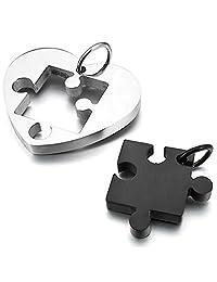 Jigsaw Puzzle Heart Pendant Couple Necklaces