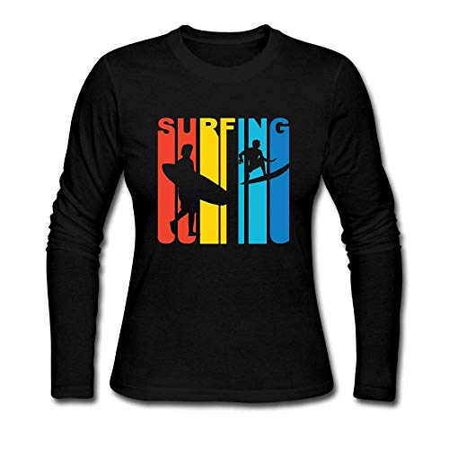 - KENMENE Retro 1970's Style Surfer Shirt Women's Jersey Long Sleeve T-Shirt Tee Personalized Tops Black