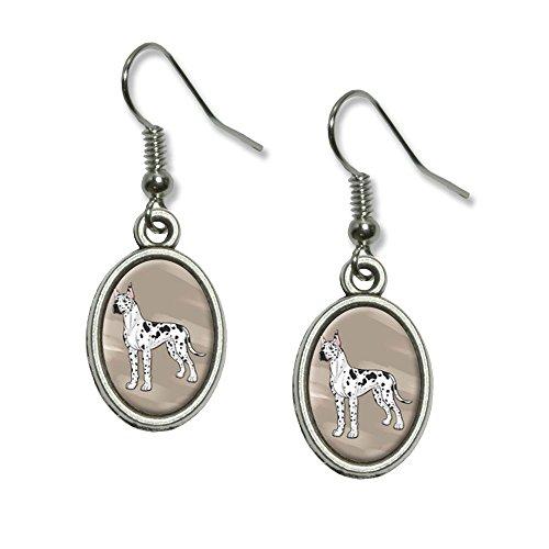(Great Dane - Pet Dog Novelty Dangling Drop Oval Charm Earrings)