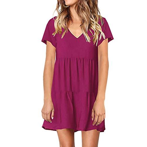 - Dresses for Womens,DaySeventh Women Solid Flounce V-Neckline Design Short Sleeve Dress Mini Dress