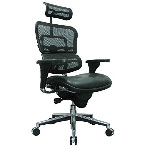 - Ergohuman Mesh Back Leather Seat Executive Chair with Headrest Black Leather Seat/Black Mesh Back/Chrome Base Dimensions: 26.5