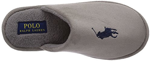 Polo Ralph Lauren Mens Manor Slide Herren Pantoffeln Grau (Grey microsuede w navy)