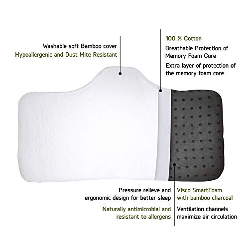Memory Contour Foam Neck Pillow large Viscomfort Washable Soft Bamboo Cover