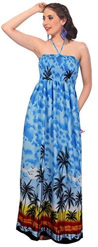 Vestido Corte Las LEELA Suave Tubo r350 Largo LA Maxi de Mujeres Encubrir Likre Azul Largo Halter Playa Ropa de BAwwq0Wz