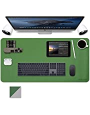 """Writing Desk Pad Protector, Dual-Sided Desk Pad, Abetcabe Anti-Slip Desk Mouse pad, PU Leather Office Desk Mat, Waterproof Desk Blotter Compatible for Computers, Office Desk Accessories Laptop (31.5""""x15.7""""/80cm x 40cm)-Dark Green"""