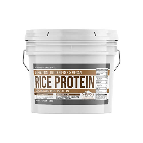 (Rice Protein Powder, 1 Gallon Bucket (5 LBS) by Earthborn Elements, Sustainably Sourced from Sprouted Brown Rice, Vegan & Gluten-Free, Post-Workout Recovery)