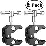 ChromLives Super Clamp Crab Clamp Photography w/ 1/4' and 3/8' Thread Rod Clamp Pliers Clip for DSLR Rig Cameras, 15mm Rods, Lights, Umbrellas, Hooks, Plate Glass, Cross Bars and More 2Pack