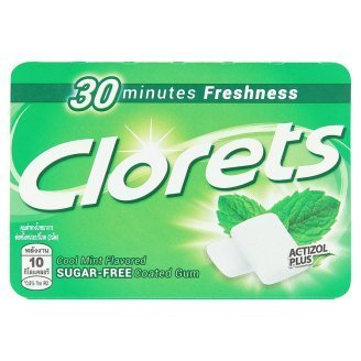 Clorets Cool Mint Coated Chewing Gum Sugar Free with Actizol Plus 30 Minutes Freshness Net Wt 12.6 G (9 Pieces) X 5 Boxes