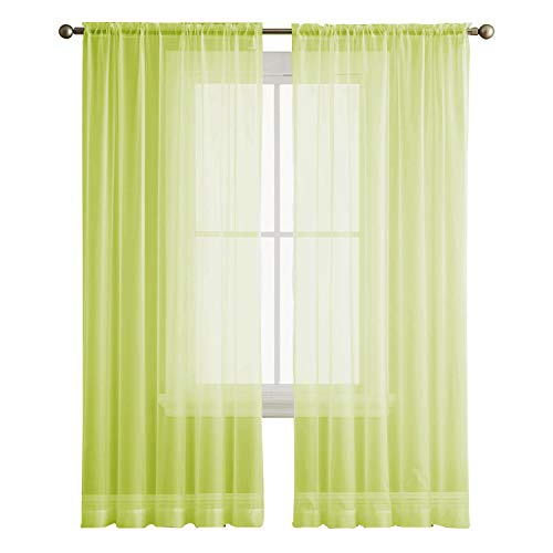 Cheap ZY Blinds Window Sheer Curtain Panels Rod Pocket Top for Bedroom & Living Room, Green, Set of 2, 50″ W x 120″ L, Extra Long Curtain