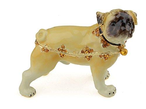 Treasure Box Enameled (Treasures Jewelled Pug enameled Trinket Box)