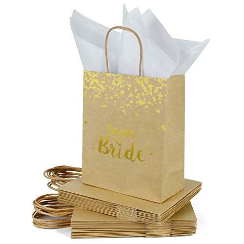 Loveinside Medium Kraft Gift Bags-Team Bride Gold Foil Brown Paper Gift Bag with Tissue Paper - Wedding,Party Favor,Bridesmaids Gift-12Pack -8