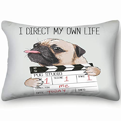 best bags Pug Director Slate Beauty Fashion Dog Cotton Linen Blend Decorative Throw Pillow Cover Cushion Covers Pillowcase Pillow Shams, Home Decor Decorations for Sofa Couch Bed Chair 20X36 Inch ()
