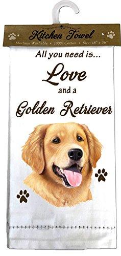 E&S Pets 700-15 Golden Retriever Kitchen Towels, Off- Off-white