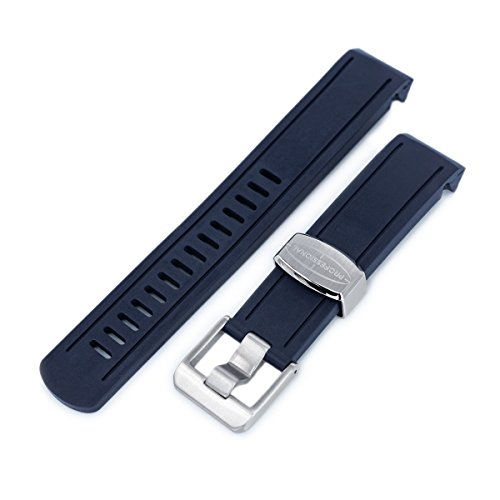 20mm Crafter Blue - Navy Blue Rubber Curved Lug Watch Band for Seiko Sumo SBDC001 ()