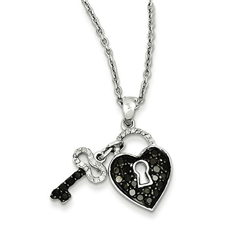 925 Sterling Silver Rhodium-plated Black & White Diamond Heart & Key Pendant Necklace ()