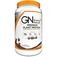 Growing Naturals | Organic Premium Plant Based Protein, Pure Rice Protein Powder | Chocolate Power | Non-GMO, Vegan, Gluten-Free, Keto Friendly, Shelf-Stable | 2LB