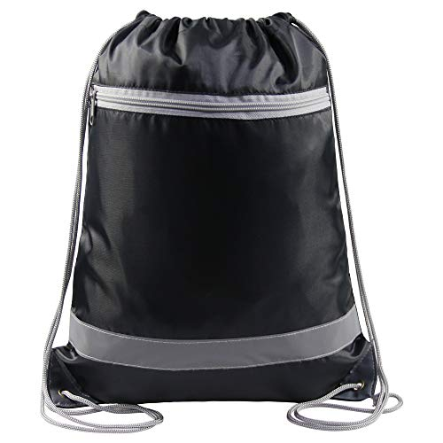 - Reflective Black Drawstring Backpack Bags with Zipper Pocket Pull String Backpack for Gym Sports Traveling 1 Piece
