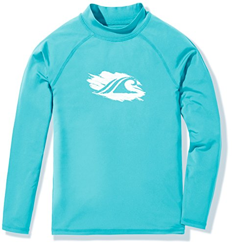 TSLA Girls UPF 50+ Long Sleeve Rashguard Youth Surf Kids Swim top, Girl Long Sleeve(gsr20) - Aqua, Large -