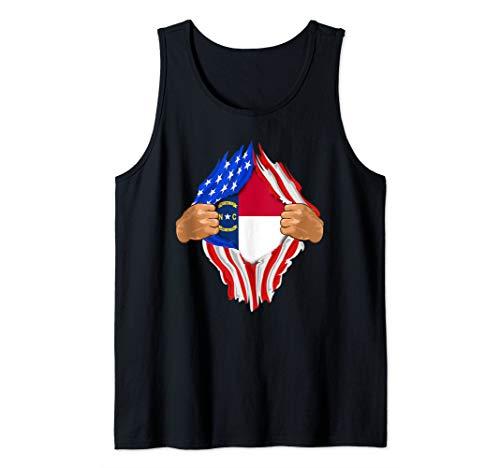 (North Carolina Roots Inside State Flag Art American Proud Tank Top)