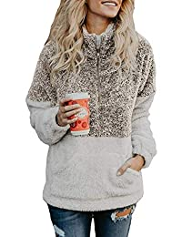 Hotmiss Women Long Sleeve Zipper Sherpa Sweatshirt Soft Fleece Pullover Outwear Coat