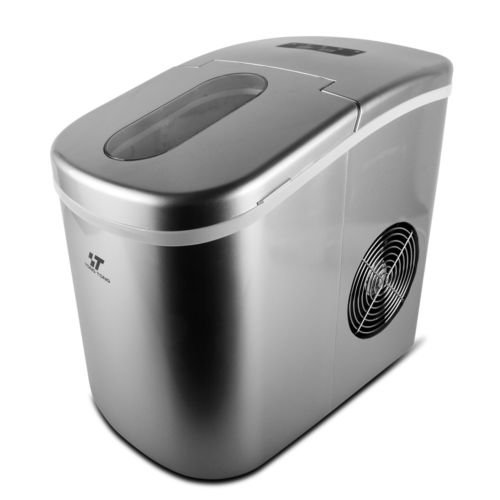26Lbs/Day Silver Portable Stainless Steel Ice Maker Countertop (Marvel Top Freezer Refrigerator)