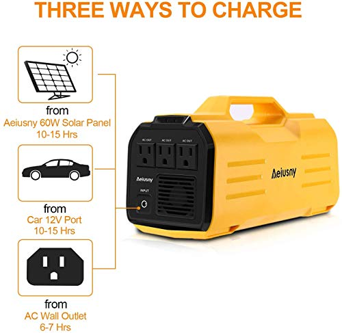 Aeiusny Generator Portable Power UPS 288Wh 500W for Home Camping CPAP Emergency Battery Backup Charged Solar Panel/Wall Outlet/Car, Yellow