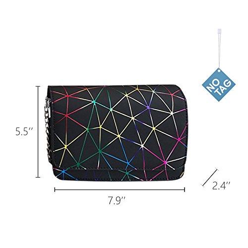 PU Bag Chain Body Bag Women Leather NOTAG Geometric Bag Black Shoulder Fashion Cross Messenger Casual aSpqnT5