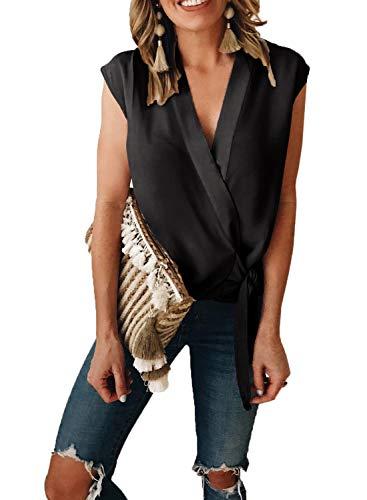 ZKESS Junior Casual V Neck Sleeveless Wrap Tie Knot Front Tank Tops Summer Chiffon T-Shirt Blouses