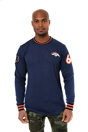 NFL Denver Broncos Men's Fleece Sweatshirt Long Sleeve Shirt Rib Stripe, Medium, Blue