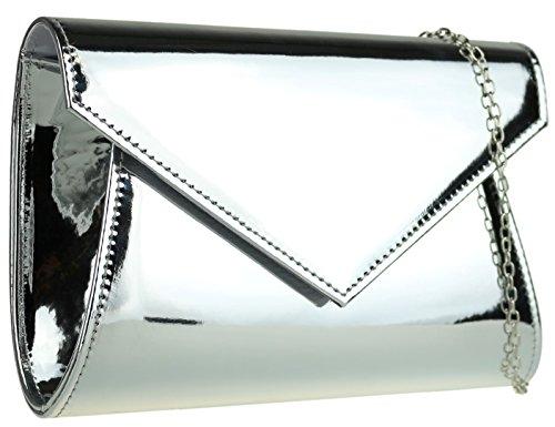 Girly HandBags Plain Clutch Bag Silver Plain Girly Glossy Glossy Clutch HandBags Bag qTwIg6nn