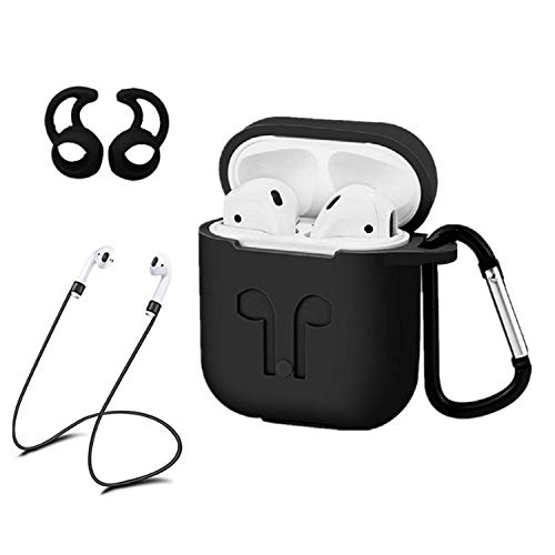 AC Parts AirPods Case Accessories Kits Protective Silicone Cover and Skin 2 Ear Hook Grips, 2 Anti-Loss Staps, 1 Earphone Bag Apple Airpods Charging Case (Black)