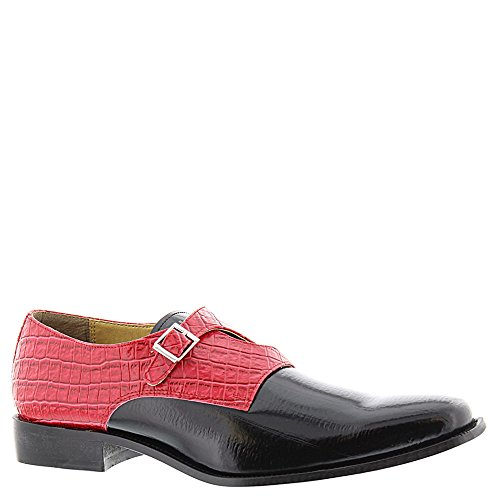 Giorgio Brutini Homme Casque Criss Cross Moine Cuir Mode Oxfords Noir, Rouge