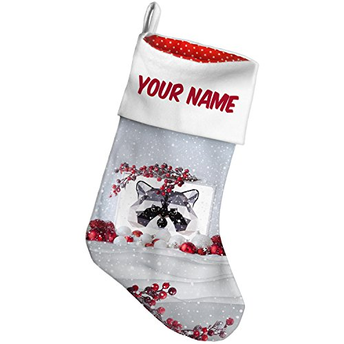 Christmas Stocking Geometric Animal art Raccoon Snow Berry NEONBLOND