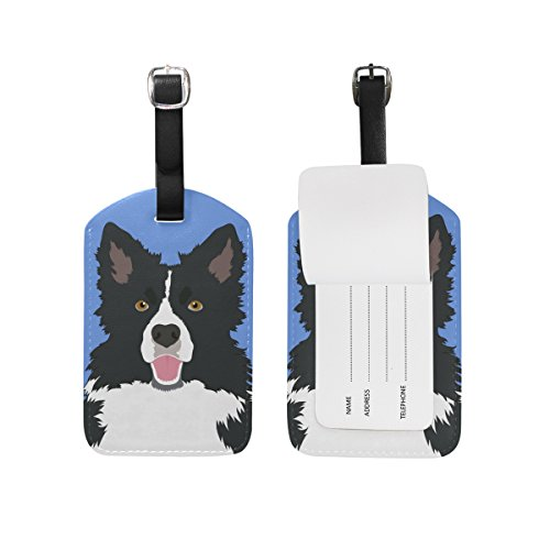 (My Daily Border Collie Dog Luggage Tag PU Leather Bag Tag Travel Suitcases ID Identifier Baggage Label 1)