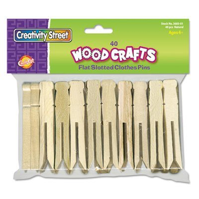 Flat Wood Slotted Clothespins, 3 3/4 Length, 40 Clothespins/Pack, Sold as 1 Package, 40 Each per Package by Creativity Street Chenille Kraft Flat Wood