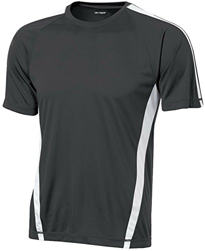 Joe's USA Men's Short Sleeve Moisture Wicking Athletic T-Shirt-Grey/White-3XL
