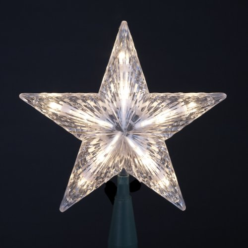 Kurt Adler 7 Classic 5-Point Star Christmas Tree Topper - Clear Lights
